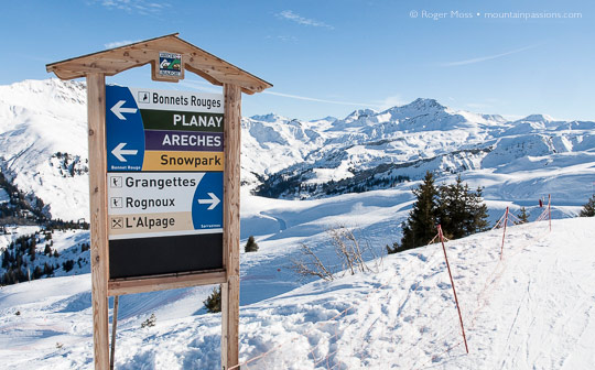 Ski area piste sign at Areches Beaufort, French Alps