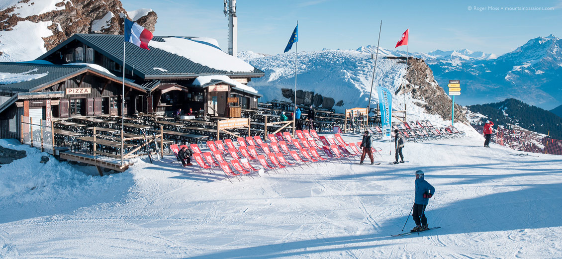 Skiers at mountain restaurant, beside Swiss border above Avoriaz, Portes du Soleil, French Alps.