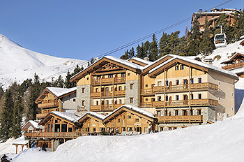 Exterior view of Hotel Carlina, Belle Plagne, Paradiski, French Alps.