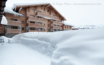 Fresh snowfalls surrounding Sun Valley apartments, La Plagne