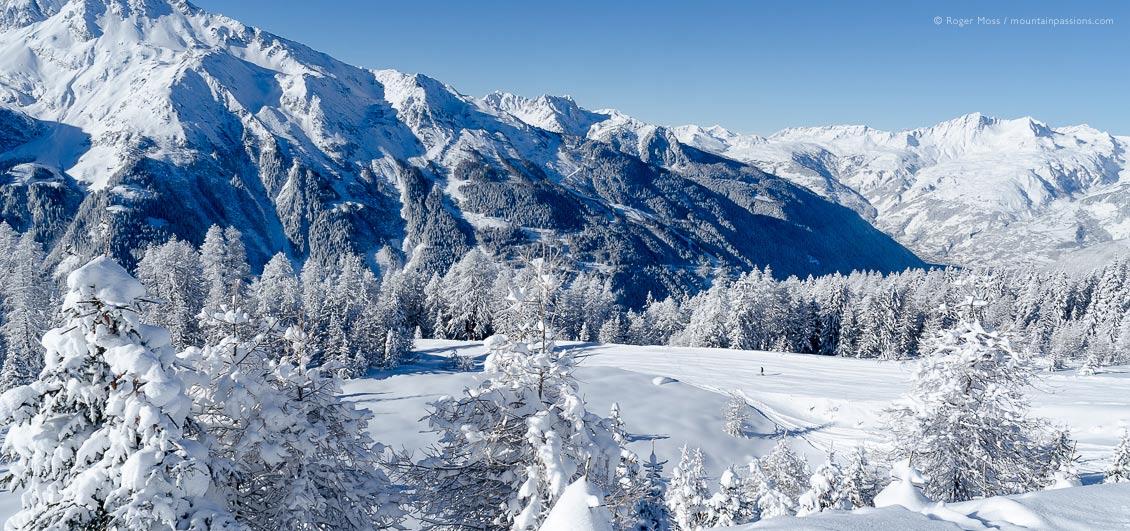 Ski area at Sainte Foy Tarentaise, French Alps, after fresh snow.