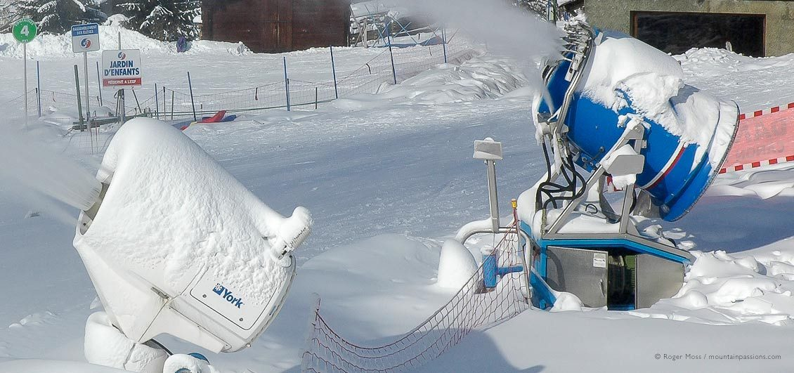 Different mobile snow-cannon units at work in Sixt Fer à Cheval, Grand Massif, Haute-Savoie, French Alps