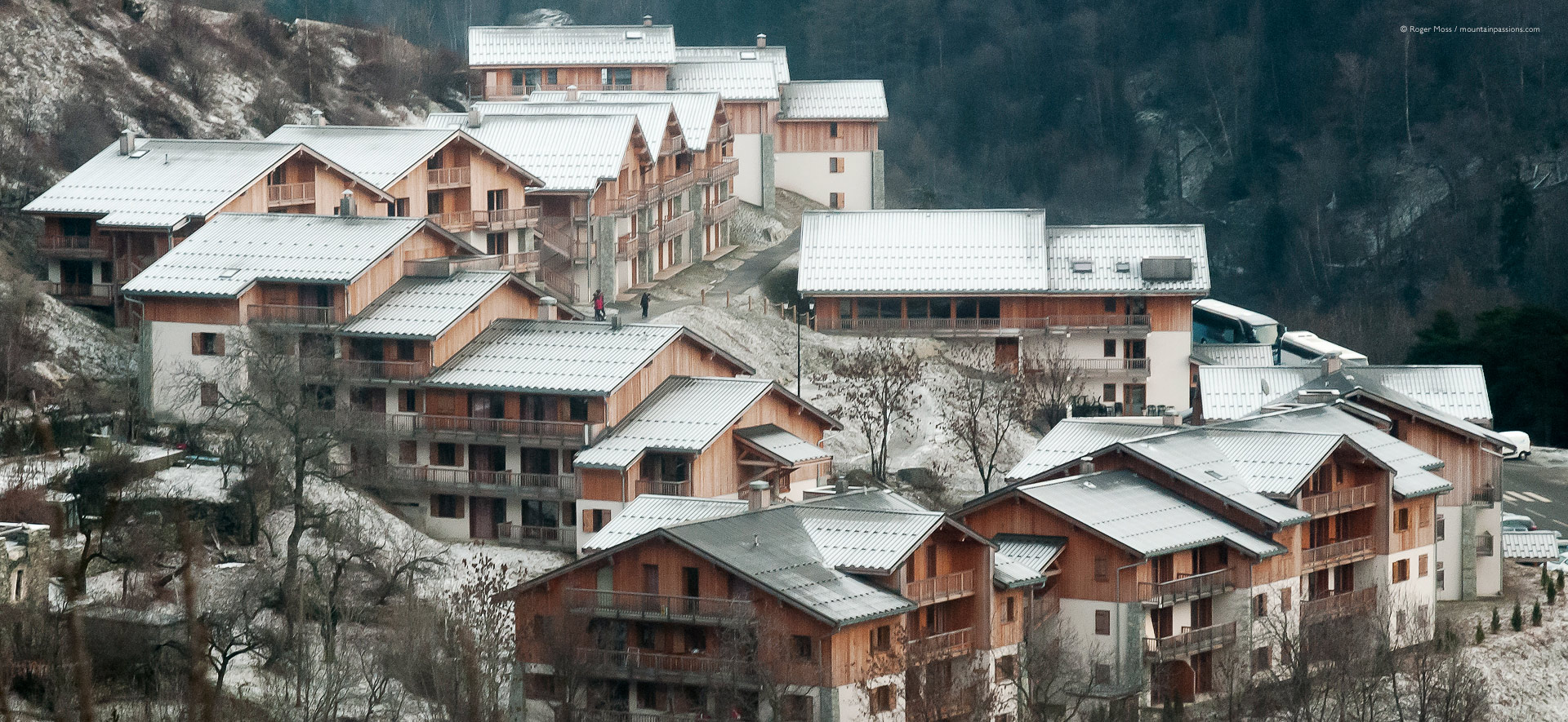 View from gondola lift of chalet-style apartment development