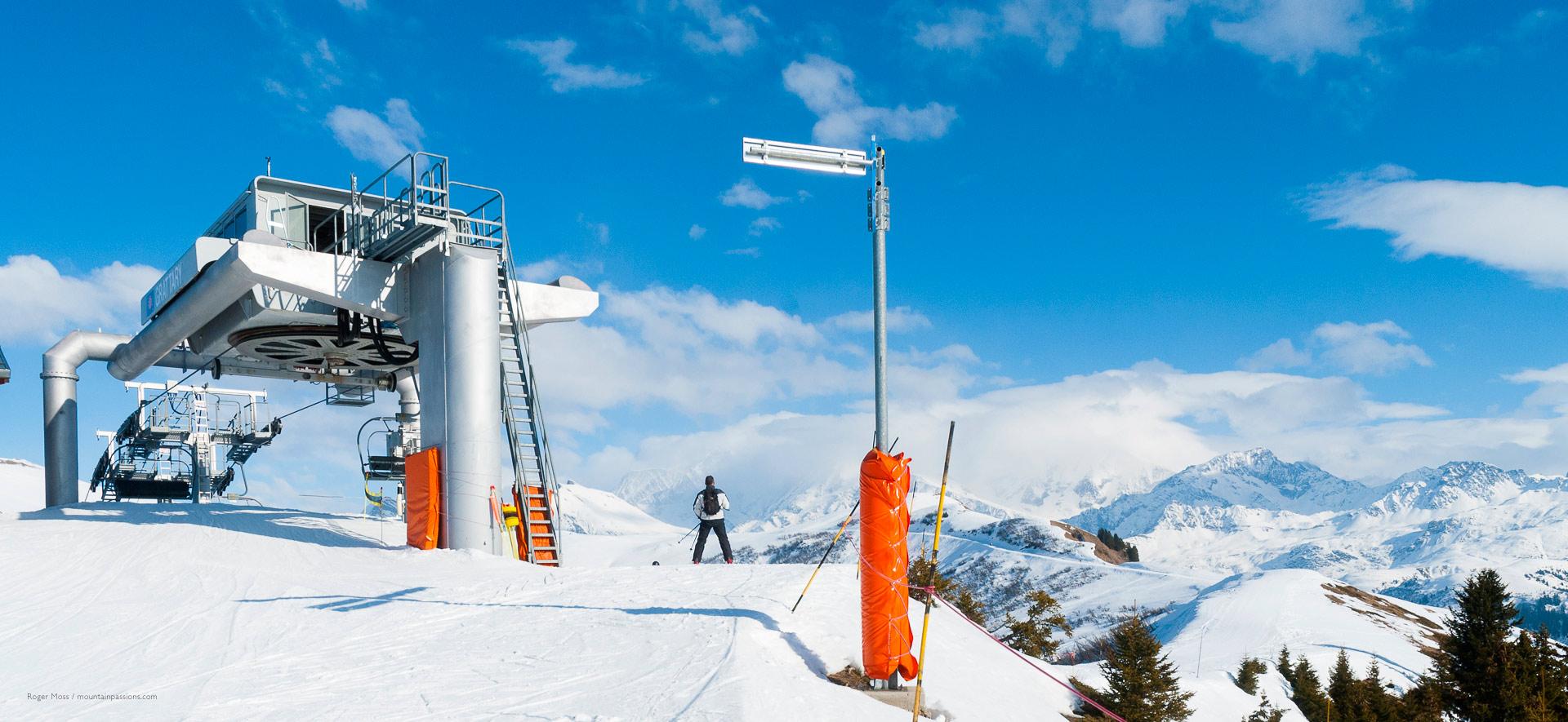 Skier leaving chairlift
