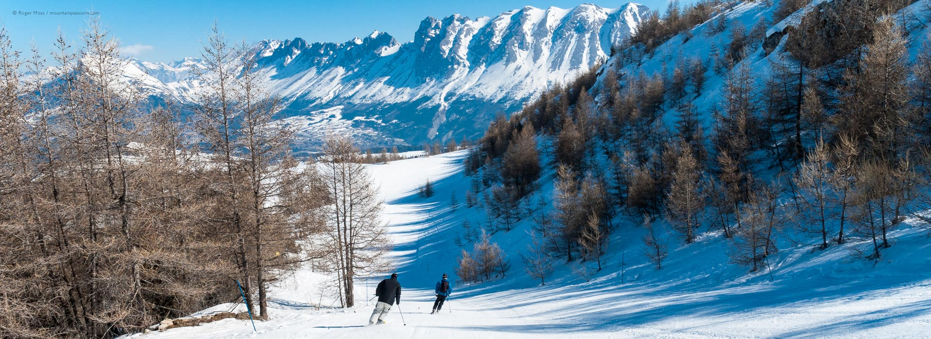 Two skiers descending tree-lined piste with mountain background.