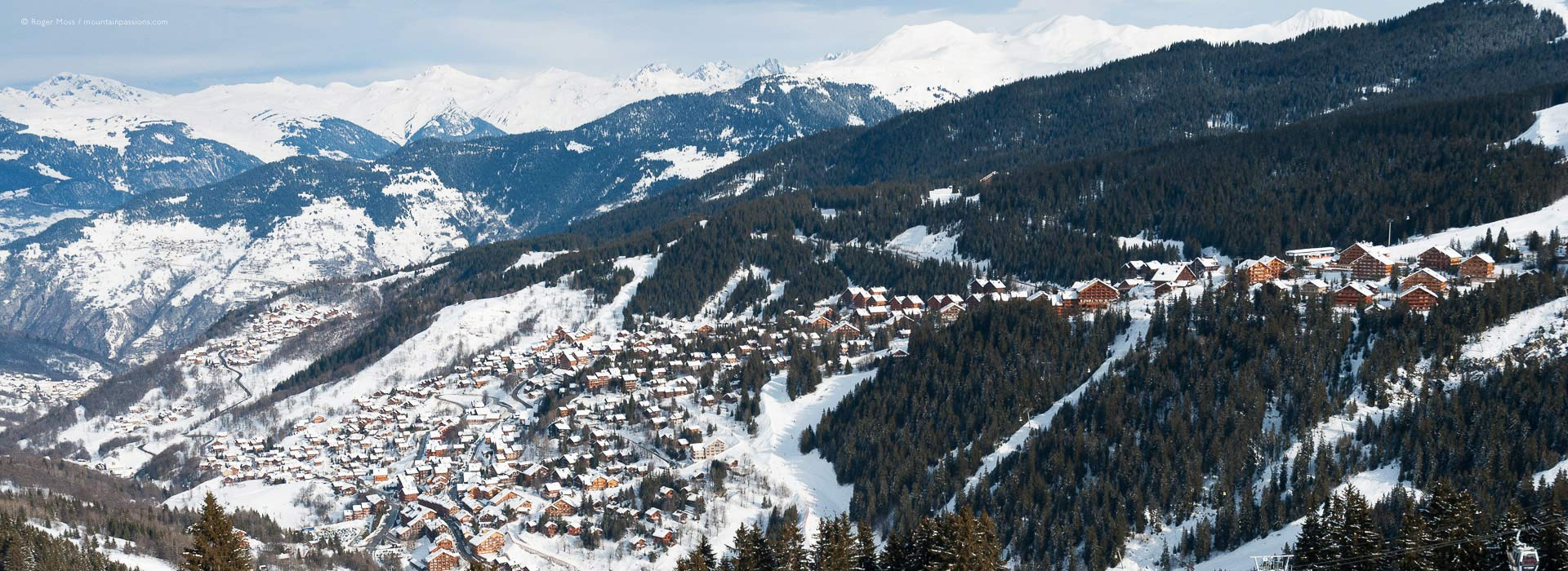 View from mountainside of Meribel ski village, in the French Alps.