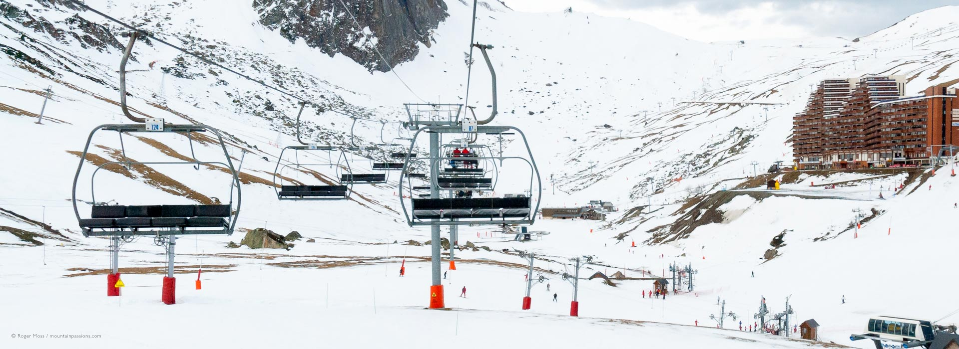 View from chairlift of ski area at La Mongie