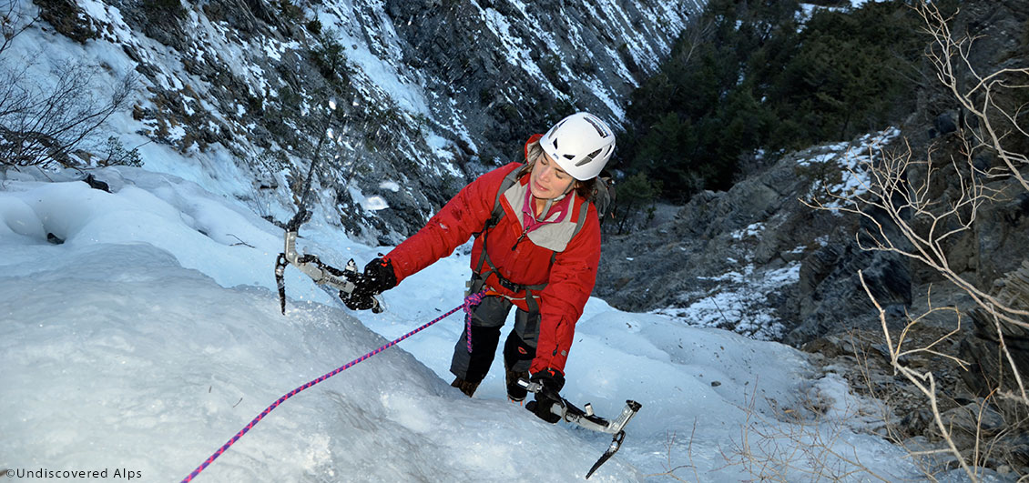 View of ice-climber from above showing use of ice-axes.