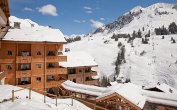 Le Village de Lessy exterior with view to ski area, Le Grand Bornand, French Alps