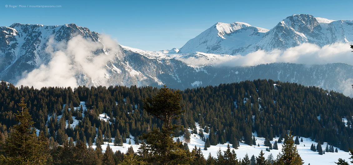 Wide view of Grandes Rousses mountains beyond tree-lined ski pistes at Chamrousse.