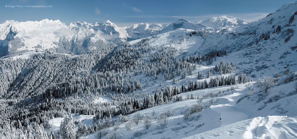 Wide view of mountains, forests and ski pistes with fresh snow above Samoens, French Alps
