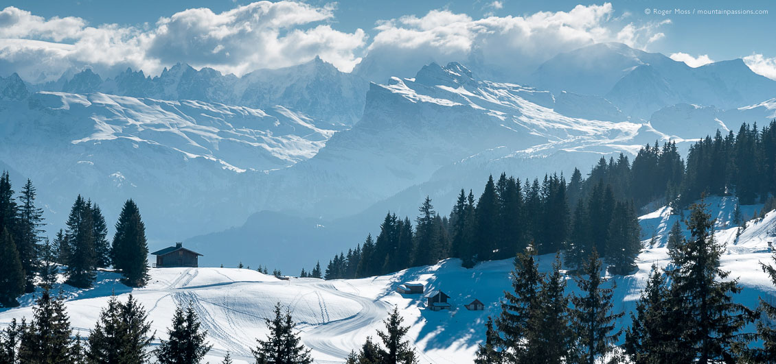Big view of tree-lined pistes and mountains at Les Gets