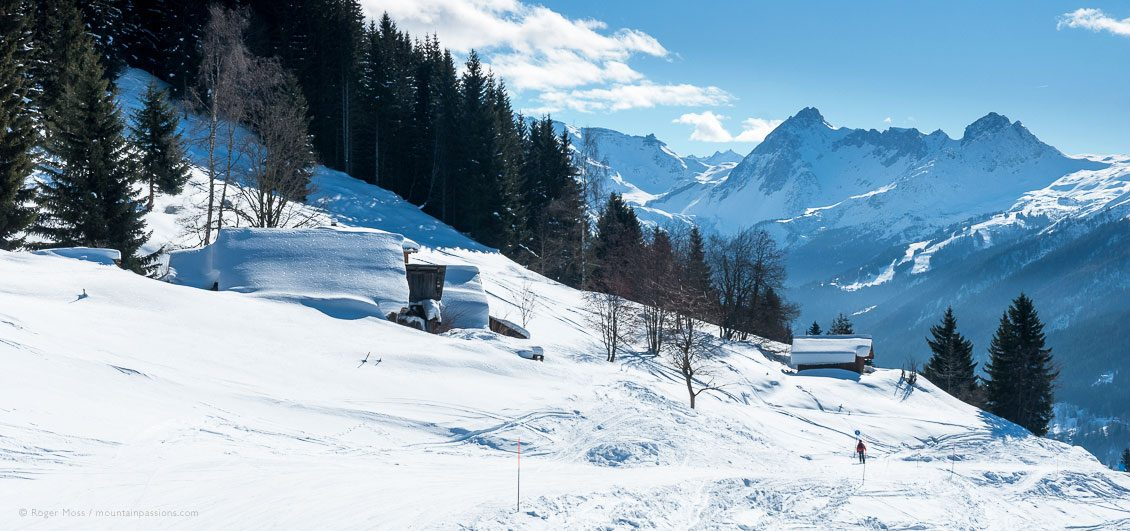 Lone skier on mountainside passing timber chalets and pine trees at Les Houches.