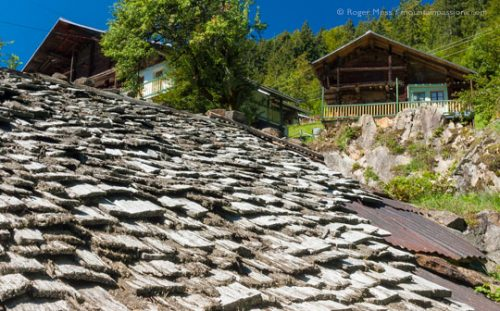 View across tavaillon roof of traditional alpine chalet