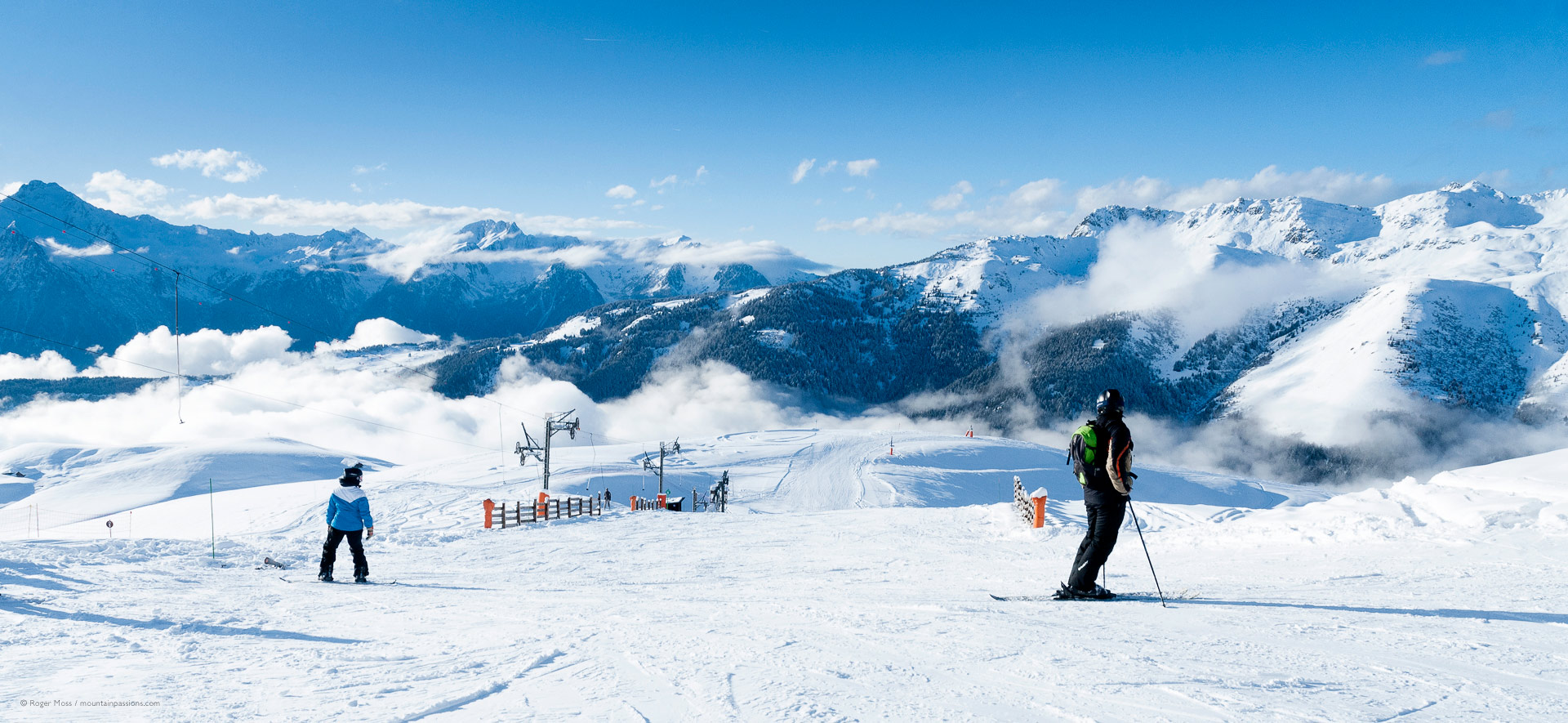 wide view of skiers looking at high mountain views
