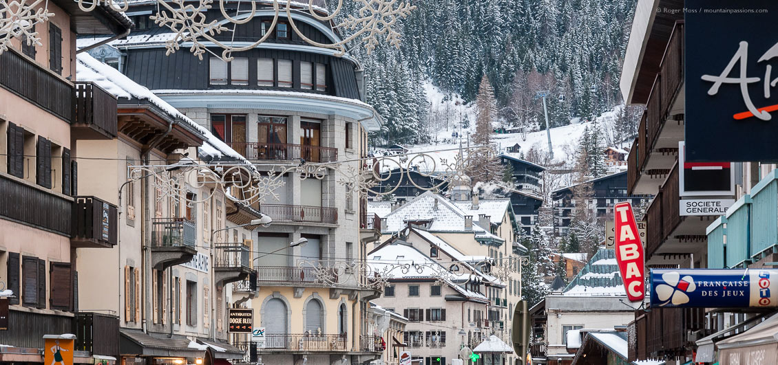 Chamonix town centre with snow