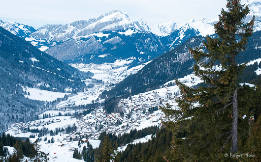 Chatel village , valley and chalets.