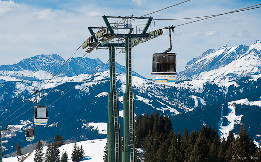 The Mont d'Arbois gondola offers spectacular views of the mountain scenery.