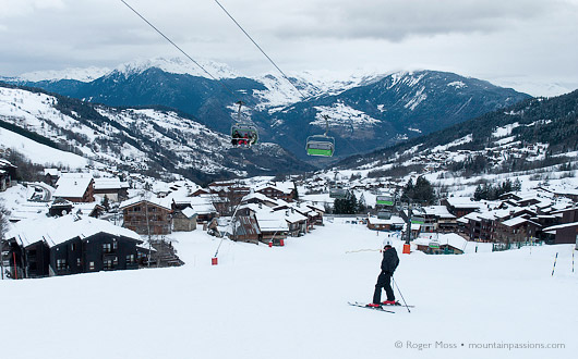 The sun might be reluctant to break through the lingering snowclouds, but Valmorel still presents an attractive picture.