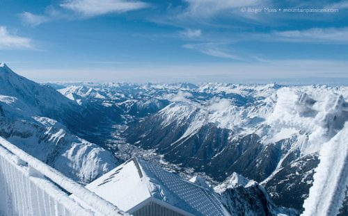 Chamonix Valley from the viewpoint, Grand Montets, French Alps