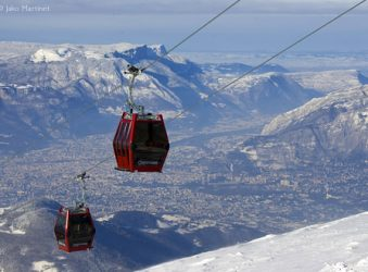 Gondola at Chamrousse with Grenoble beneath.