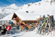 Mountain restaurant terrace at the Chalet du Maroly, Le Grand Bornand