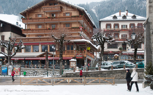 Traditional village centre of Le Grand Bornand, French Alps