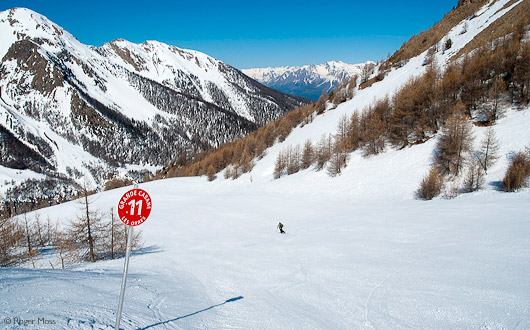 Skier on red piste, Les Orres, French Alps