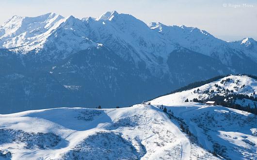 Ski terrain and mountains with snow, Espace Diamant