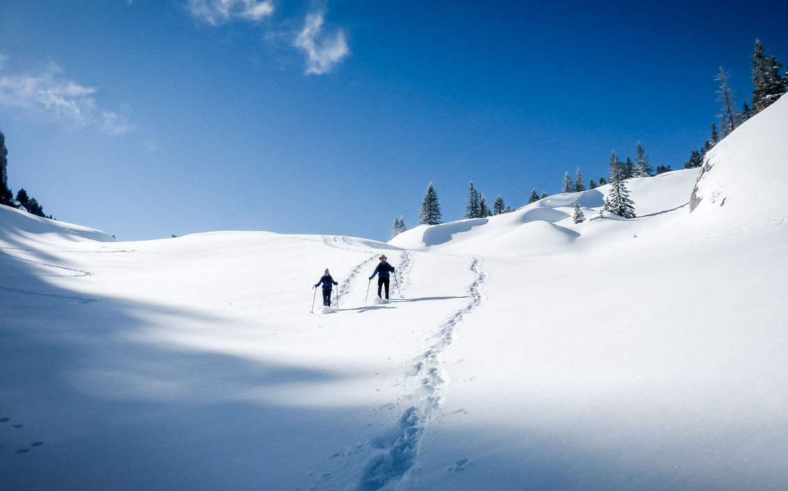 Couple showshoeing on snow-covered mountainside in the Massif de la Chartreuse, French Alps.
