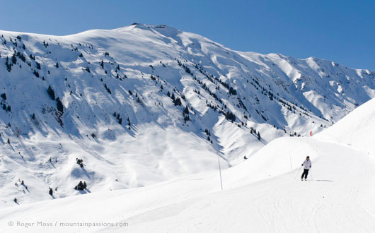 Wide view of skier on piste in valley between La Toussuire and Saint Colomban des Villards, Les Sybelles, French Alps