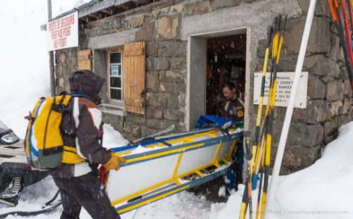 Piste security team at first aid post