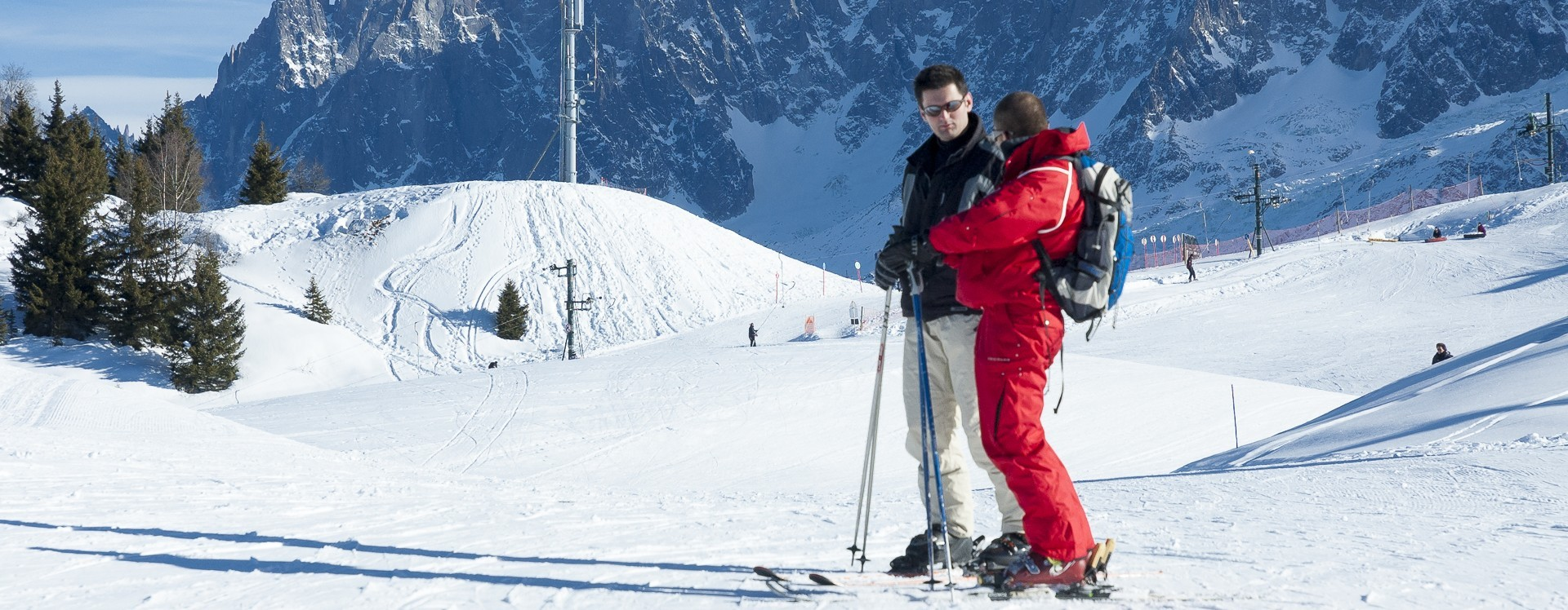 Skier with ESF instructor at Les Houches, French Alps