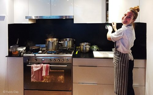 Chef Heather Frew in kitchen at Chalet Flocon des Neiges, Les Menuires