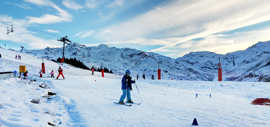 Children's ski school area in Les Menuires, French Alps.