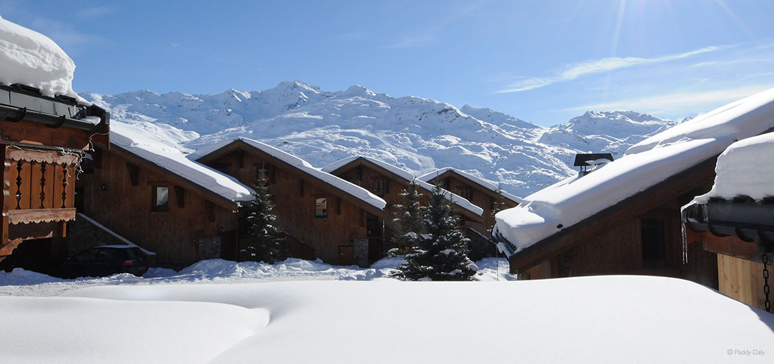 Morning, with fresh snow at Reberty Village, Les Menuires, French Alps