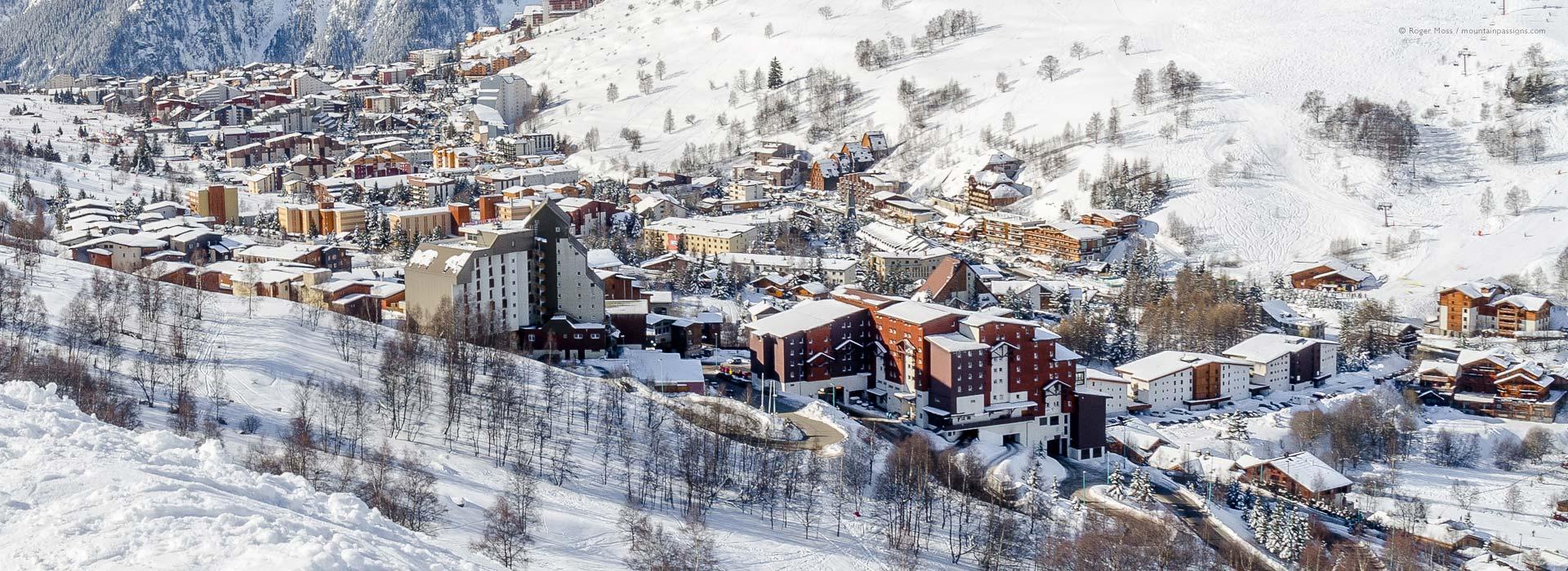 View of Les 2 Alpes ski village, showing Club Med