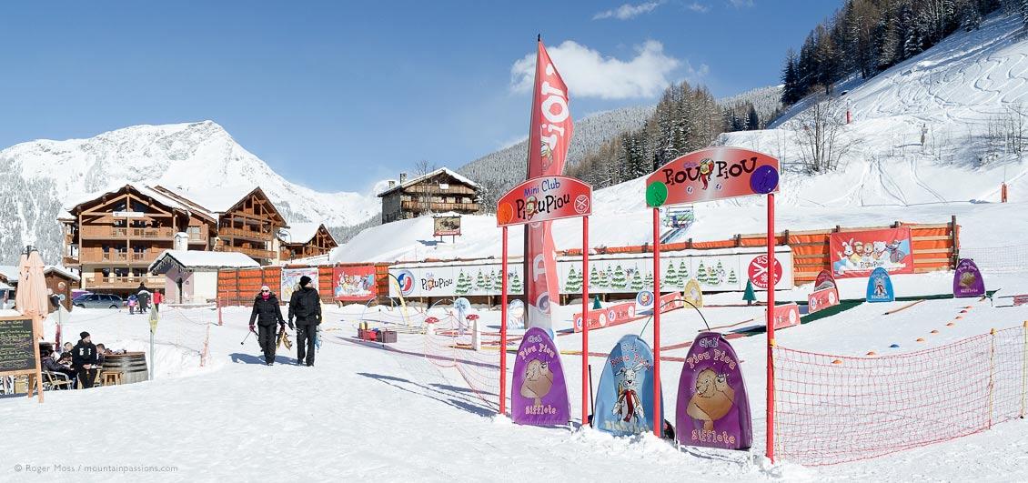 Young children's ESF ski school area at Sainte-Foy Tarentaise, Savoie, French Alps.