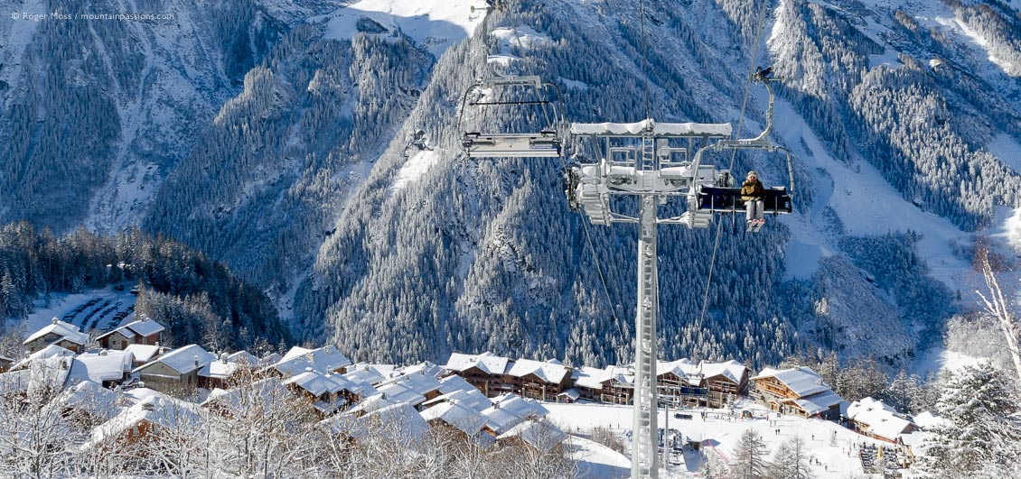 Overview of Sainte-Foy Tarentaise ski village from chairlift, Savoie, French Alps.