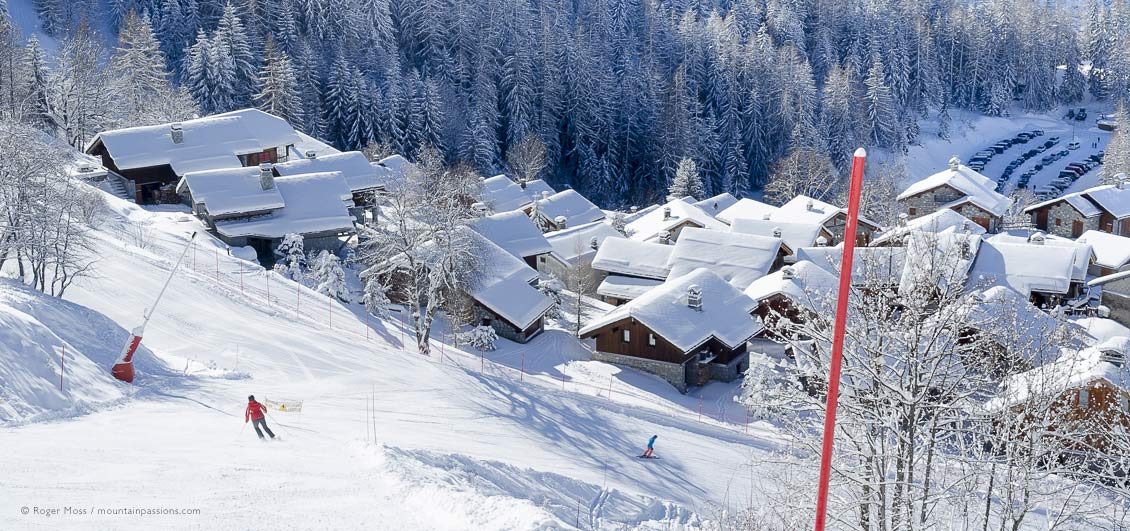 Skier returning to Sainte-Foy Tarentaise, Savoie, French Alps.