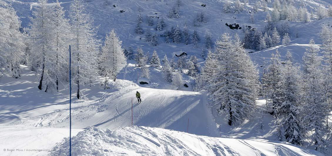 Skier on piste above Sainte-Foy Tarentaise, Savoie, French Alps.