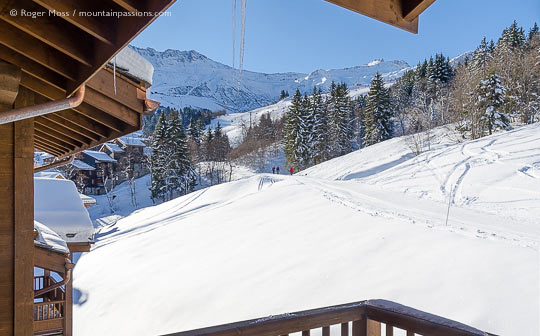View from balcony of CGH Fée des Neiges ski apartment, Valmorel, Savoie, French Alps.