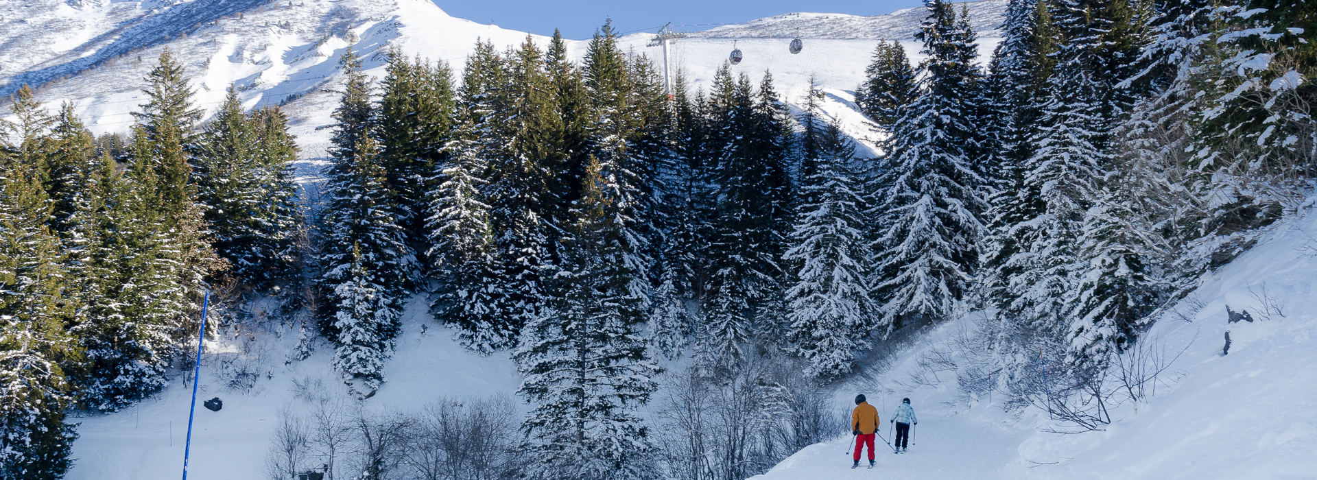 Two skiers on forest trail piste at Valmorel, Savoie, French Alps.