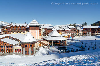 Overview of Club Med ski village at Valmorel, Savoie, French Alps