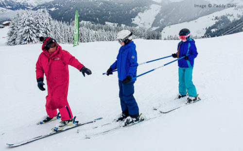 Ski instructor and pupils at Areches-Beaufort, French Alps
