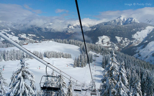 View of ski area from chairlift at Areches-Beaufort, French Alps