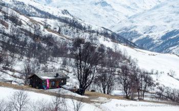 Mountain refuge restaurant on snowy mountainside