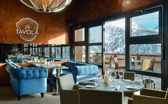 Restaurant interior at Hyatt Centric La Rosiere, French Alps