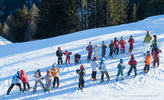Group of children on the slopes, Les Houches