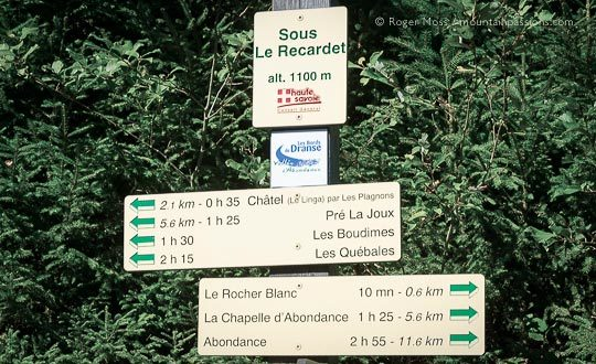 Bike route and footpath sign between Chatel and Abondance, French Alps